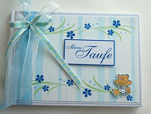 Kleines süßes Album/Gästebuch Baby Bär blau zur Taufe/Geburt *Handmade*