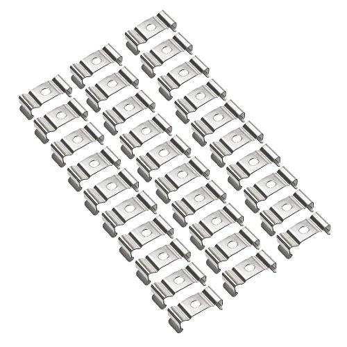 sourcing map T4 Clips Bracket Hanger for LED Light Tube, LED Fluorescent Tube Light Fixture, Nickel-Plated Manganese Steel, Pack of 30