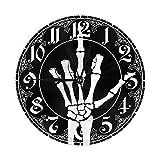Mailine Reloj de Pared Redondo El Esqueleto Muestra el Dedo Medio del cráneo Reloj de Pared Redondo Silencioso Sin tictac Funciona con Pilas Fácil de Leer Arte Decorativo del Reloj