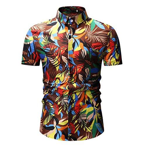 CICIYONER Herren sommerhemd Printed Männer Casual Slim Fit Kurzarm Button Stehkragen Hemd Top Bluse Blau Gold Grün Weiß Blau Braun M L XL XXL XXXL
