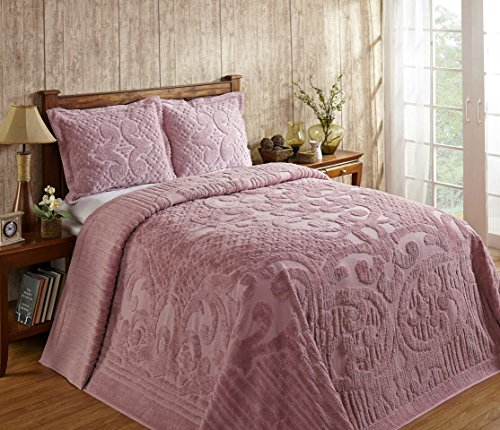 Better Trends / Pan Overseas Ashton 430 GSM Heavy Weight 100-Percent Cotton Chenille Tufted Bedspread, Full, Pink