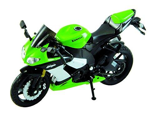 Welly Die Cast Motorcycle Green Kawasaki 2002 Ninja ZX-10R, 1:18 Scale