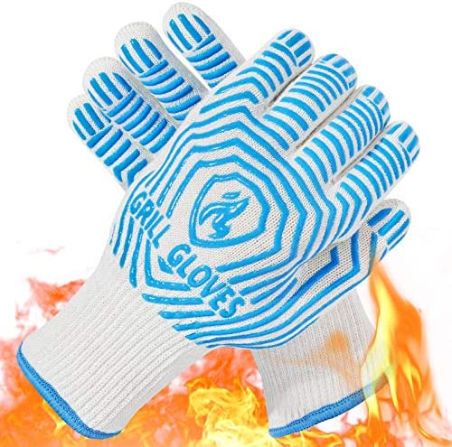 QUWIN BBQ Gloves 1472 F Heat Resistant Grilling Gloves Silicone Non Slip Oven Mitts Kitchen product image