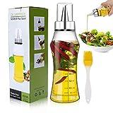 Familybox Botella de Aceite, 400ML Escala Dispensador de Aceite y Vinagre con Pico de Acero Inoxi y Cepillo Aceite de Oliva Vegetal para Cocinar Ensalada BBQ