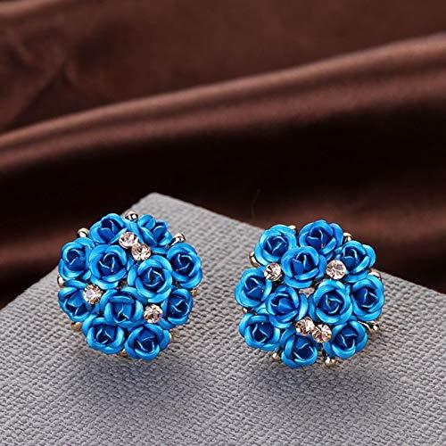 AQUALITYS Moda Azul Negro Ramo Redondo Cristal Oro Rosa Boda Flor Diamantes de imitación Pendientes para Mujer Conjunto de Pendientes de joyería-Azul
