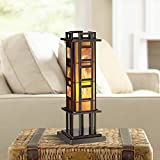 Prairie Mission Antique Accent Table Lamp Bronze Iron Column Amber Stained Glass for Living Room Family Bedroom Office - Robert Louis Tiffany