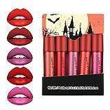 Ownest 5 Colors Matte Mist Lipstick Set,Mini Matte Lip Gloss Velvet Nude Lip Gloss Liquid Long-Lasting Waterproof Non-Stick Cup,Matte Lip Makeup for Women-Set C