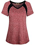 Miusey Yoga Tops for Women,Ladies Short Sleeve Sport Exercise Elastic Petite Activewear Fast Dry Running Solid Color Light Weight Cool Relaxing Wearing Wine M