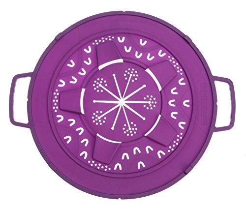 Fackelmann Spritzschutz 2in1 Ø 30 cm, Überkochschutz aus Silikon, Spritzschutzdeckel für Pfannen und Töpfe bis Ø 32 cm (Farbe: Violett), Menge: 1 Stück