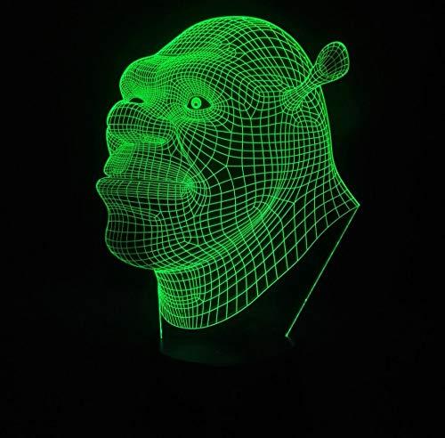 Shrek 3D Led Night Light Energy Saving Light Touch 7 Color Children's Bedroom Decoration Optical Illusion Lamp Gift for Children/Birthday/Christmas