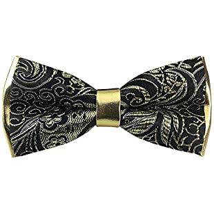 Mens Synthetic Leather Pre-tied Bowtie Solid Handmade Bow Ties Various Colors (Gold Black):Isfreetorrent
