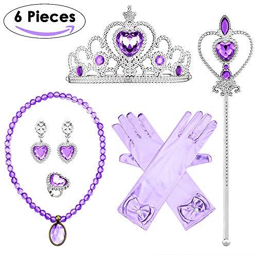 Lukovee Princesa Vestir Elsa Conjunto de accesorios, accesorios de vestir Regalo para niñas Traje de…
