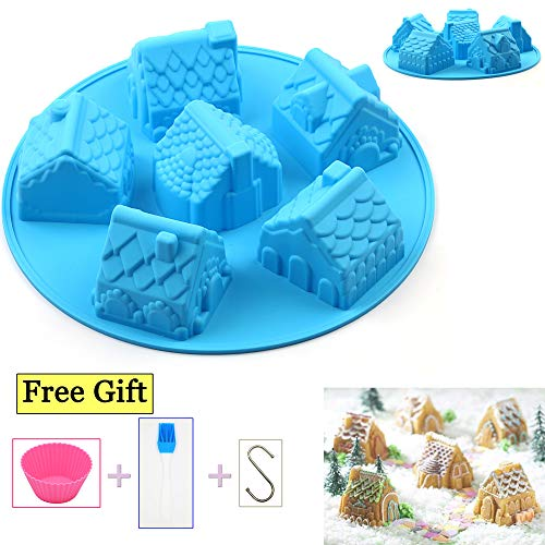 AILEHOPY Silicone Molds - Baking Molds 6 Cavity Non-stick Cake Molds,House Shape Soap Mold, For Cupcake,Candy, Jelly, Pudding, Chocolate, 1 Pack