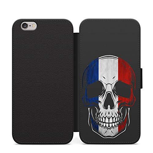 Francia Cráneo Francés Bandera de País Cartera de la tarjeta del teléfono de bolsillo de la PU Funda de cuero para el iPhone 6+6S +