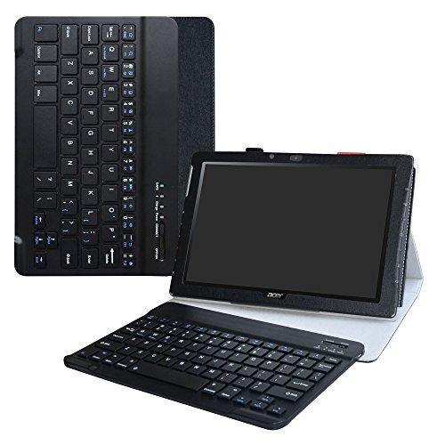 Acer Iconia One 10 B3-A40 Bluetooth Keyboard hülle,LiuShan Abnehmbare Bluetooth Tastatur (QWERTY, englisches Layout) hülle mit Ständer für 10.1