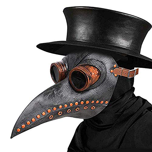 Schnabelmaske, Halloween Maske Mittelalter Pest Maske Doktor Arzt Kopfmaske Steampunk Kostüm Zubehör für Erwachsene Halloween Party Fasching Karneval