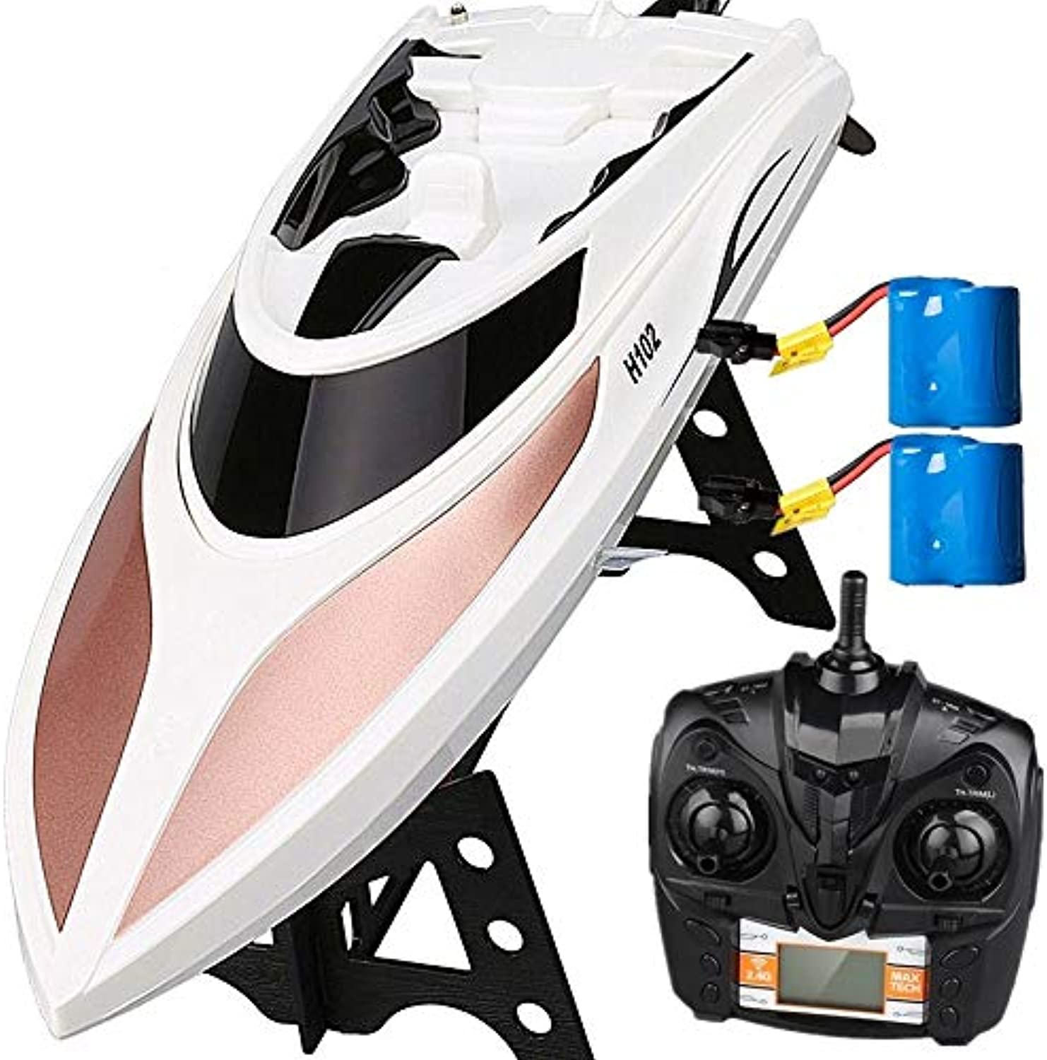 Virhuck RC Boat, Remote Control Boat for Pools and Lakes 2.4GHz 2530 KM H High Speed RC Racing Boats for Kids & Adults, 180° Flip, SelfRighting, Waterproof, Low Voltage Alarm, Bonus Battery