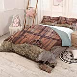 prunushome Barn-Wood-Wagon-Wheel 3 Pieces for Quilt Cover Pillow Case Rural-Old-Horse-Stable-Barn-Interior-Hay-and-Wood-Planks-Image-Print Lightweight 3 Piece Bed Sets Brown-Dust Full