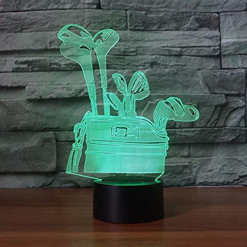 Luz nocturna 3D LED 3D, luz nocturna de golf, interruptor táctil, USB, lámpara de escritorio para niños, iluminación de sueño, el mejor regalo para niños