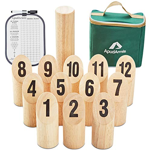 ApudArmis Wooden Throwing Game Set, Numbered Block Tossing Games Set with Scoreboard & Carrying Case - Outdoor Lawn Backyard Beach Game for Kids Adults Family