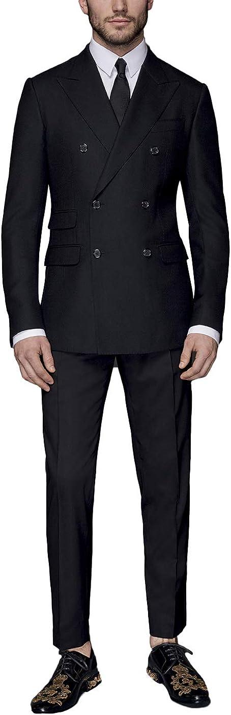 Newdeve Men's Suits Regular Fit Formal Double Breast 2 Pieces Business Set Black
