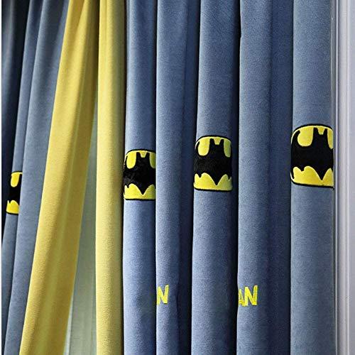 QYDF Verdunkelungsvorhänge mit Blackout-Fenster für Kinderschlafzimmer, Master amerikanischen Kinderbett, 2 Stück, Batman,Hookup,137x220cm