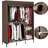 elifine Portable Wardrobe Clothes Closet Storage Organizer with Non-Woven Freestanding Portable Closet Strong FabricShelves, Quick and Easy to Assemble (Coffee)