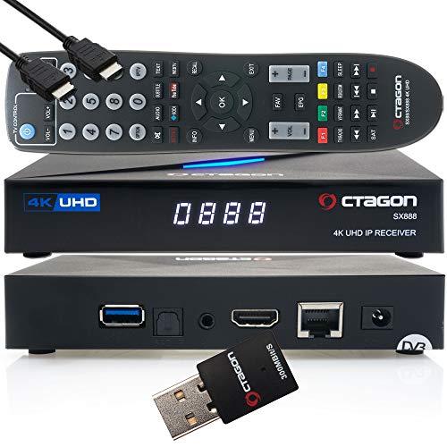 OCTAGON SX888 4K UHD IP H.265 HEVC Smart TV Set-Top Box - Sat to IP TV Receiver, Media Server, DLNA, YouTube, Web-Radio, App iOS & Android App, gratis EasyMouse HDMI-Kabel + 300 Mbit/s WLAN Adapter