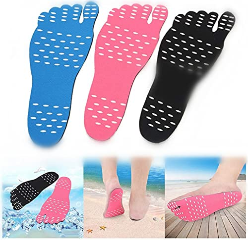 TTCPUYSA 3 Pairs Anti-Skid Beach Shoes Pad,Portable Beach Invisible Water Shoes,for Beach Supply Pad Unisex (L)
