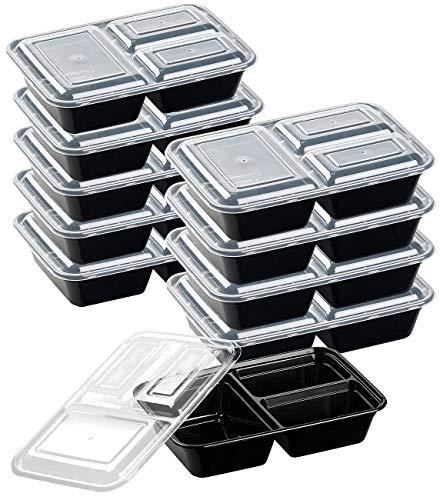 Rosenstein & Söhne Lebensmittelboxen: 10er-Set Lebensmittel-Boxen mit je 3 Trennfächern & Deckel, 1,2 l (Mikrowellendose)