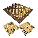 Juego de ajedrez plegable de madera, 3 en 1, juego de tablero de ajedrez magnético plegable con ajedrez, damas y backgammon, juego de ajedrez internacional de viaje de alto grado para niños y adultos