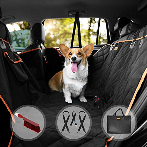 Dog Car Seat Cover, Waterproof Durable Nonslip Scratch Proof, Washable Seat Cover with Belts and Side Flaps. 3-in-1 Car Seat Protector, Boot Liner, Dog Travel Hammock for all Cars (Black-A)