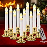 FLY2SKY Christmas Window Candle Lights 10 Pcs Flameless Candles Christmas Decorations LED Candles Battery Operated with Remote Control, Timer, Gold Candle Holders for Window Decor Party Table top