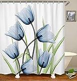 LIVILAN Blue Tulip Shower Curtain, Floral Fabric Bathroom Curtains Set with Hooks Flowers Bathroom Decor 72x72 Inches Machine Washable Decorative Creative Pattern