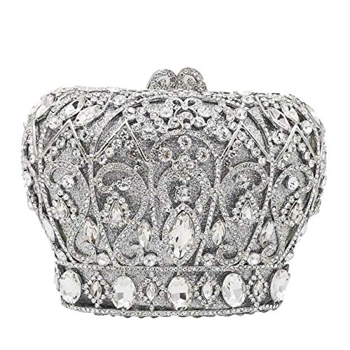 XLJJB Ahueca hacia Fuera Las Mujeres De La Corona De Cristal del Embrague Monederos Y Bolsos De Noche Bolso Nupcial Minaudiere Bolso del Banquete De Boda