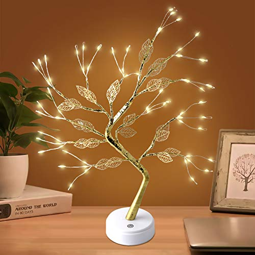 Yiliaw 20' Tabletop Bonsai Tree Light with 72 LED Copper Wire String Lights, Touch Switch,DIY Artificial Tree Lamp,USB or Battery Powered,for Bedroom Desktop Christmas Party Indoor Decoration Lights