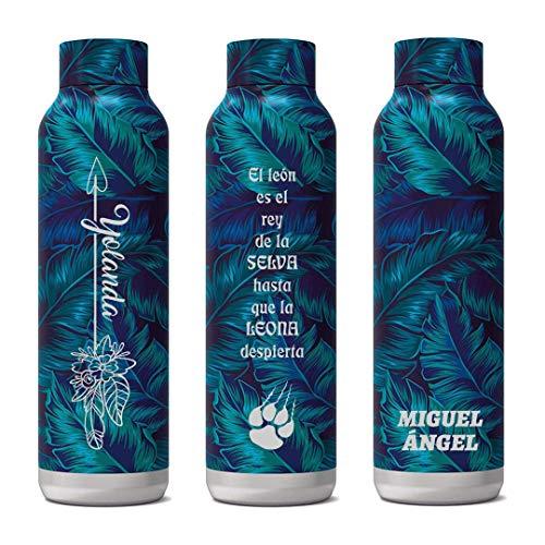 Trofeos Cadenas | Quokka Solid - Deep Jungle 630 ML | PERSONALIZABLE | Botellas De Agua Acero Inoxidable Sin BPA |Botella Térmica De Doble Pared - Mantiene el frío y el Calor para Niños y Adultos -