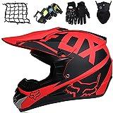 XYYMC Cascos de Motocross Niños Adultos, Casco de MTB de Integrales,Set de Cascos Moto Downhill Todoterreno para Hombre y Mujer Gafas+Guantes+Máscara+Red de Casco con Diseño Fox (L)