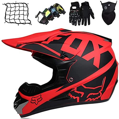 XYYMC Cascos de Motocross Niños Adultos, Casco de MTB de Integrales,Set de Cascos Moto Downhill Todoterreno para Hombre y Mujer Gafas+Guantes+Máscara+Red de Casco con Diseño Fox (XL)