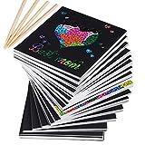 MEJOSER 200 Blätter Kratzbilder Set Kratzpapier Malerei Kratzpapier zum Zeichnen