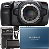 Blackmagic Design Pocket Cinema Camera 6K (EF Mount) with Samsung 500GB T5 Portable Solid-State Drive, Extended Life LP-E6 Spare Battery (2700mAh/20.0Wh), Home/Travel Battery Charger & Cleaning Cloth