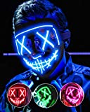 Lizber Halloween Mask, Led Light Up Mask Cosplay Costume with Neon Wire, Scary Hacker Mask for Halloween, Glow in The Dark Mask with 3 Lighting Modes, Glowing Anonymous Mask for Boy Girls Women, Blue