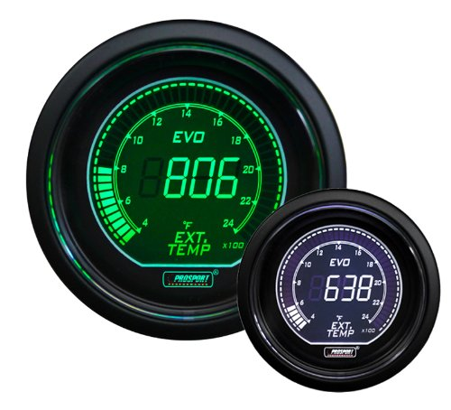 EGT Exhaust Gas Temperature Gauge- EVO Series Green and White Digital 52mm (2 1/16
