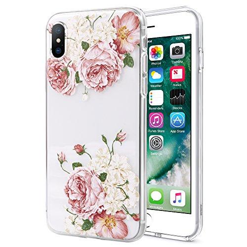 Yoedge Cover iPhone 6, Cover iPhone 6s, Custodia Cover Silicone Trasparente con 3D Fiori Disegni [Ultra Slim] Antiurto Bumper Case Skin in TPU Morbido per Apple iPhone 6s / 6 Smartphone (Peonia Rosa)