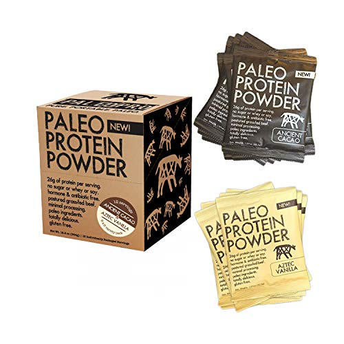 PaleoPro Protein Powder, Gluten Free, Dairy Free, Whey Free, Soy Free, No Added Hormones, Pastured Grass-fed Beef, Minimally Processed, 12 Single-Serve Packs, 6 Ancient Cacao/6 Aztec Vanilla