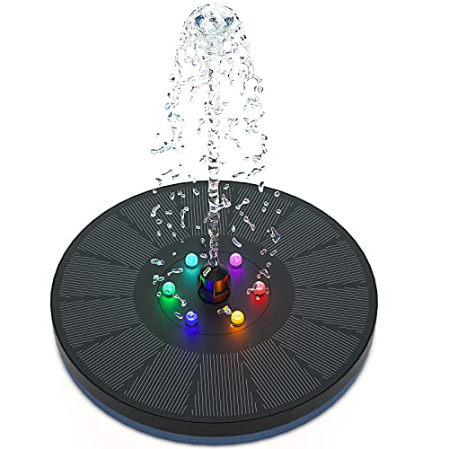 Solar Springbrunnen, 3w 900mAh Akku Solar Teichpumpe mit Farbe LED Garten Wasserpumpe für Außen Solar betriebene Schwimmender Fontäne Pumpe für Vogelbad Teich Gartendekor Aquarium Fisch-Behälter