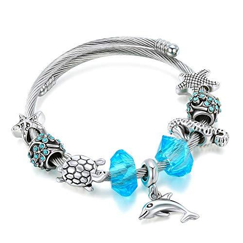 PLMOKN Silber Delphin Seepferdchen Armbänder Armreifen Für Frauen Charme Armbänder Schmuck Handgemachte Seestern Armband