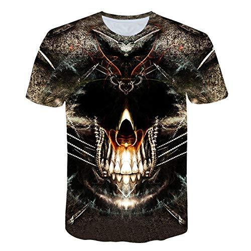 RKWEI T-shirt à manches courtes pour homme Motif crâne 3D Motif femmes XXL multicolore