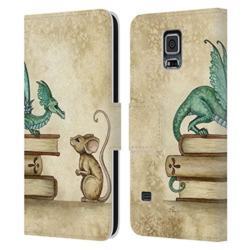 Head Case Designs Licenciado Oficialmente Amy Brown Encuentro Curioso Folclore Carcasa de Cuero Tipo Libro Compatible con Samsung Galaxy S5 / S5 Neo