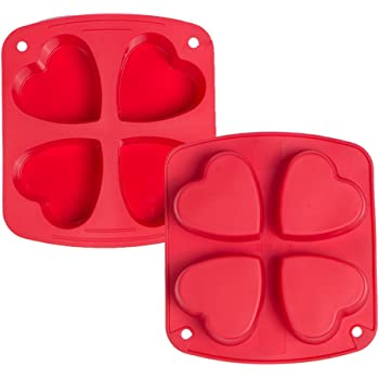 Webake Silicone Heart Mold Heart Shaped Cake Pans Muffin Cupcake Mold Tray for Jelly Pudding Jello Soap 4 Cavity, 2 Pack